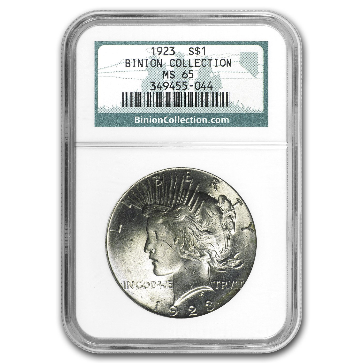 1923 Peace Dollar MS-65 NGC - Binion Collection